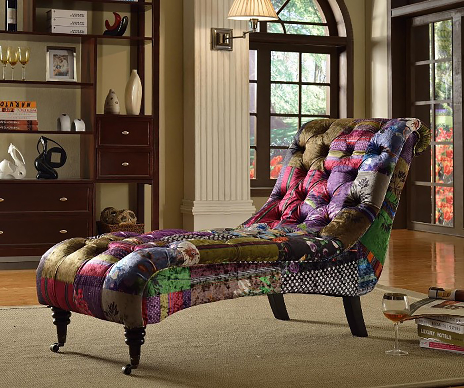 anna luxury fabric chaise lounge with patchwork patterm ebay. Black Bedroom Furniture Sets. Home Design Ideas