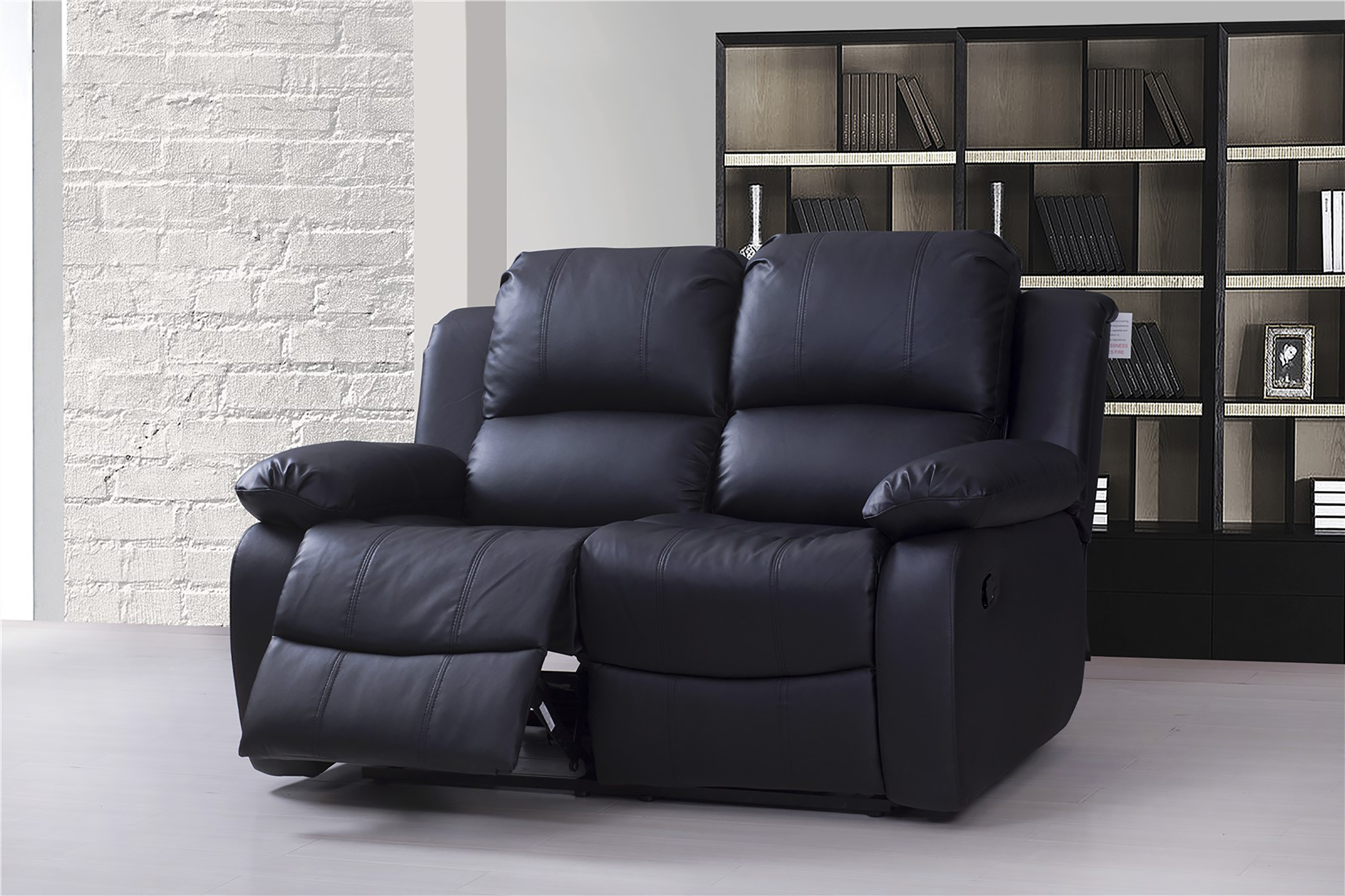 Valencia 2 Seater Bonded Leather Recliner Sofa Black Ebay