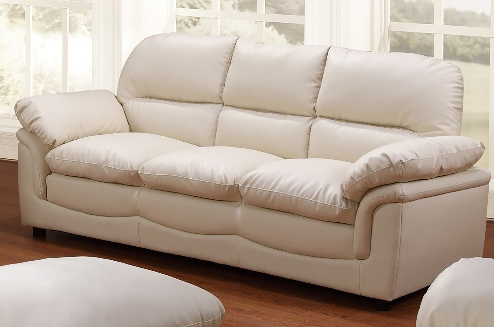 New modern verona 3 seater bonded leather living room sofa - Living room with cream sofa ...
