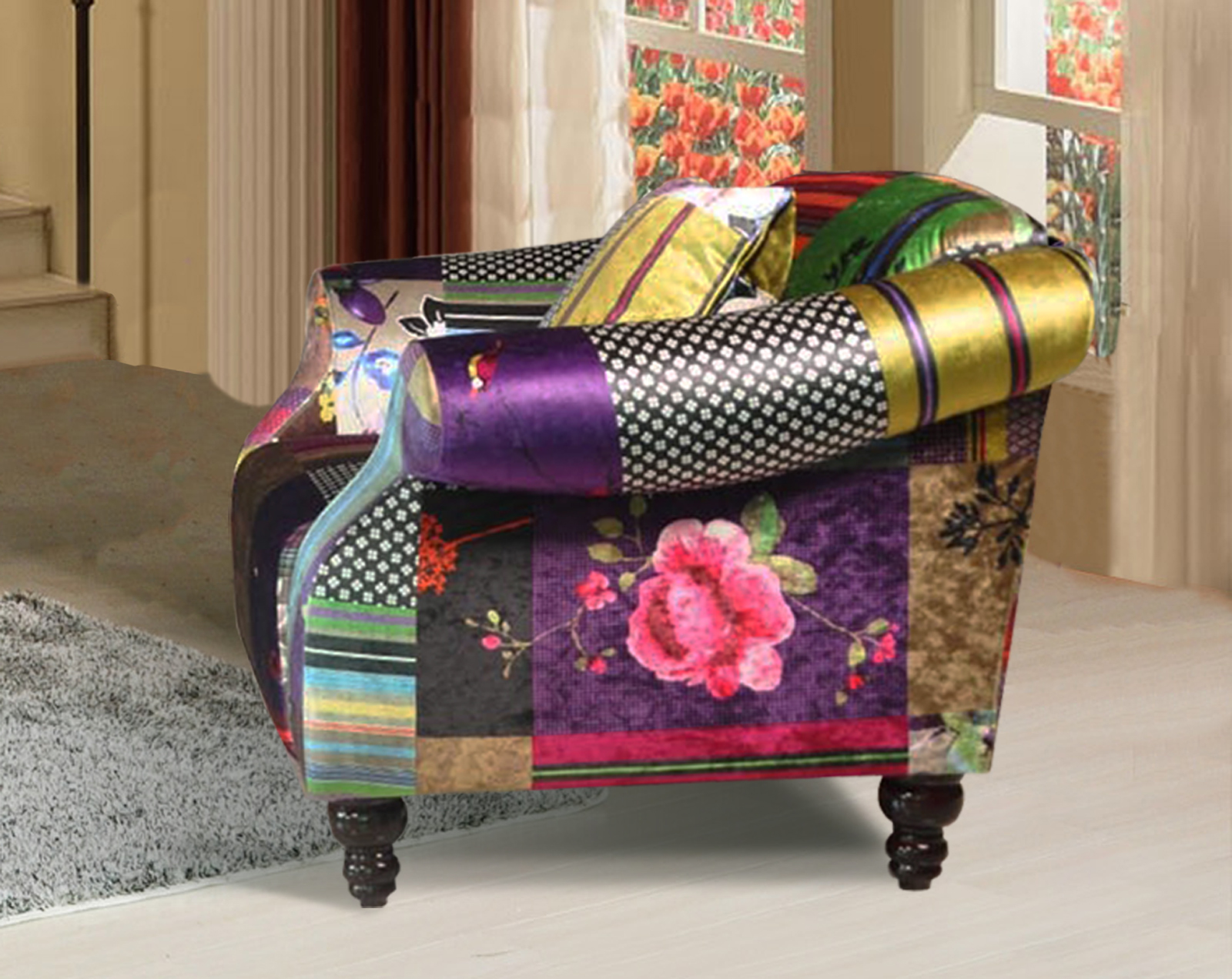 anna shout 1 seater luxury fabric patchwork sofa ebay. Black Bedroom Furniture Sets. Home Design Ideas