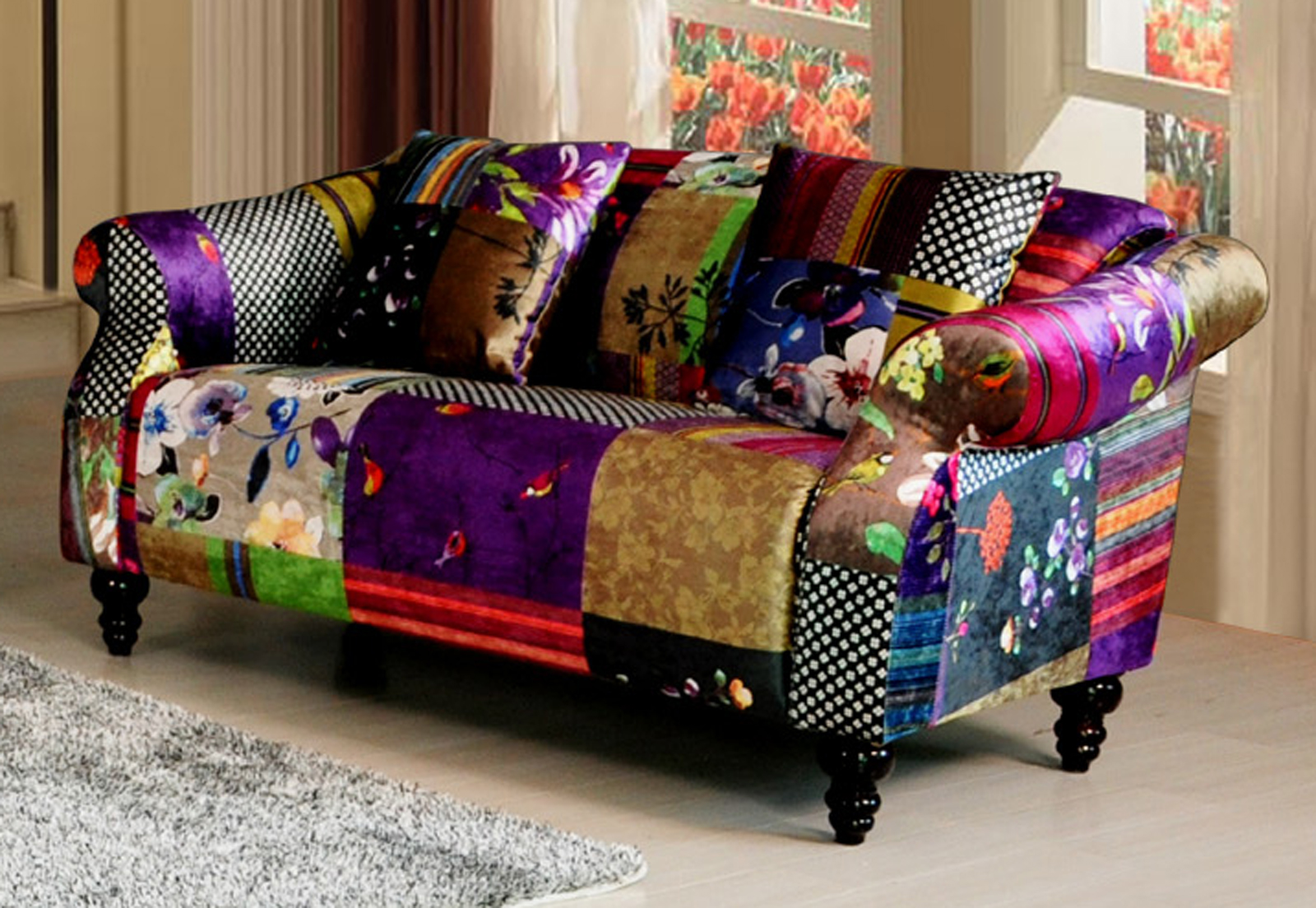 anna shout 2 seater luxury fabric patchwork sofa ebay. Black Bedroom Furniture Sets. Home Design Ideas