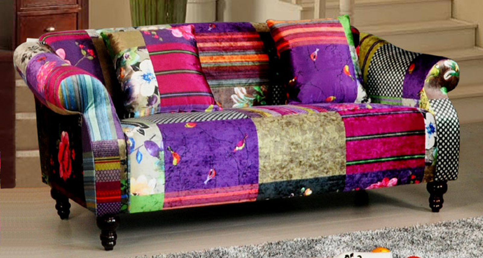 Anna shout 3 seater luxury fabric patchwork sofa ebay for Sofa patchwork