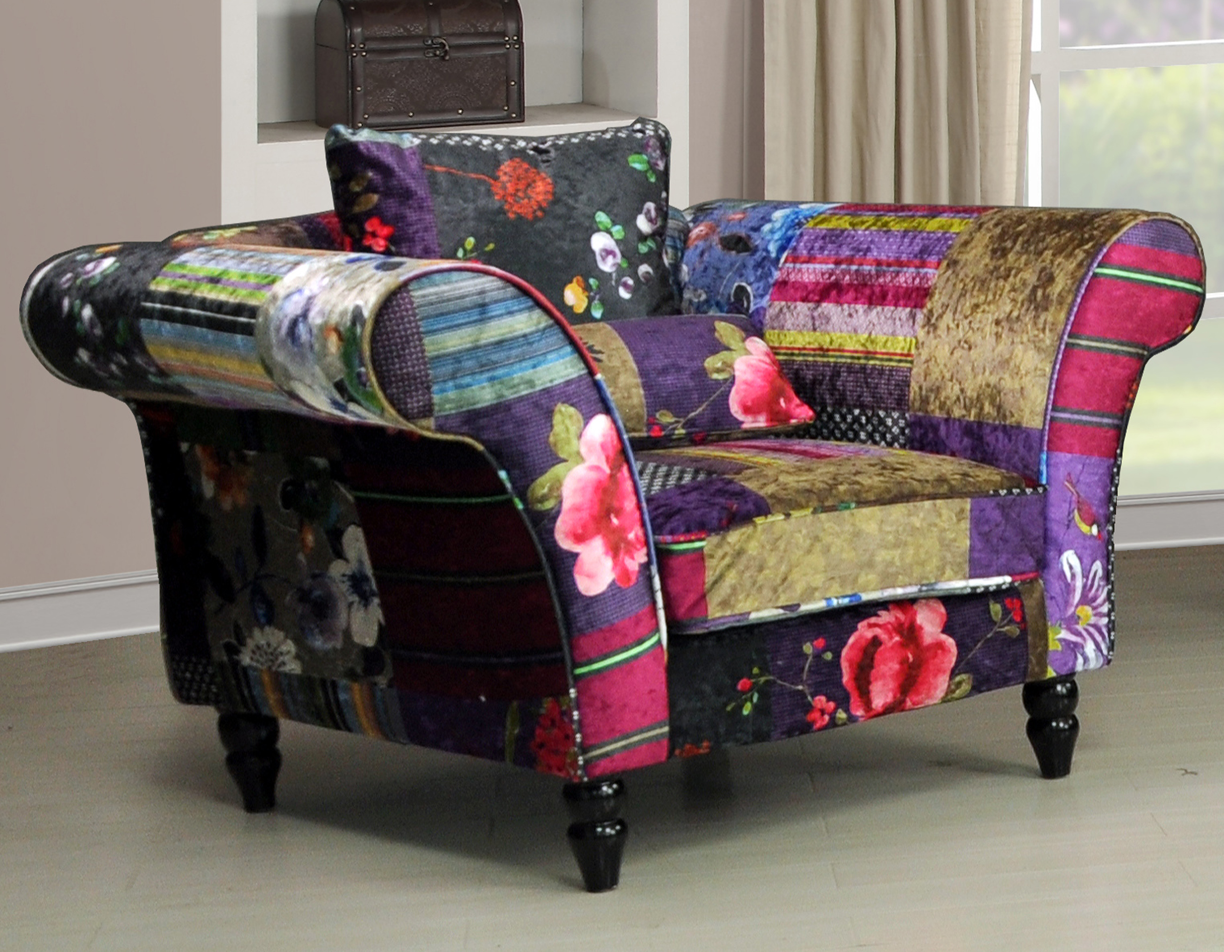 new anna wave 1 seater luxury fabric patchwork sofa ebay. Black Bedroom Furniture Sets. Home Design Ideas