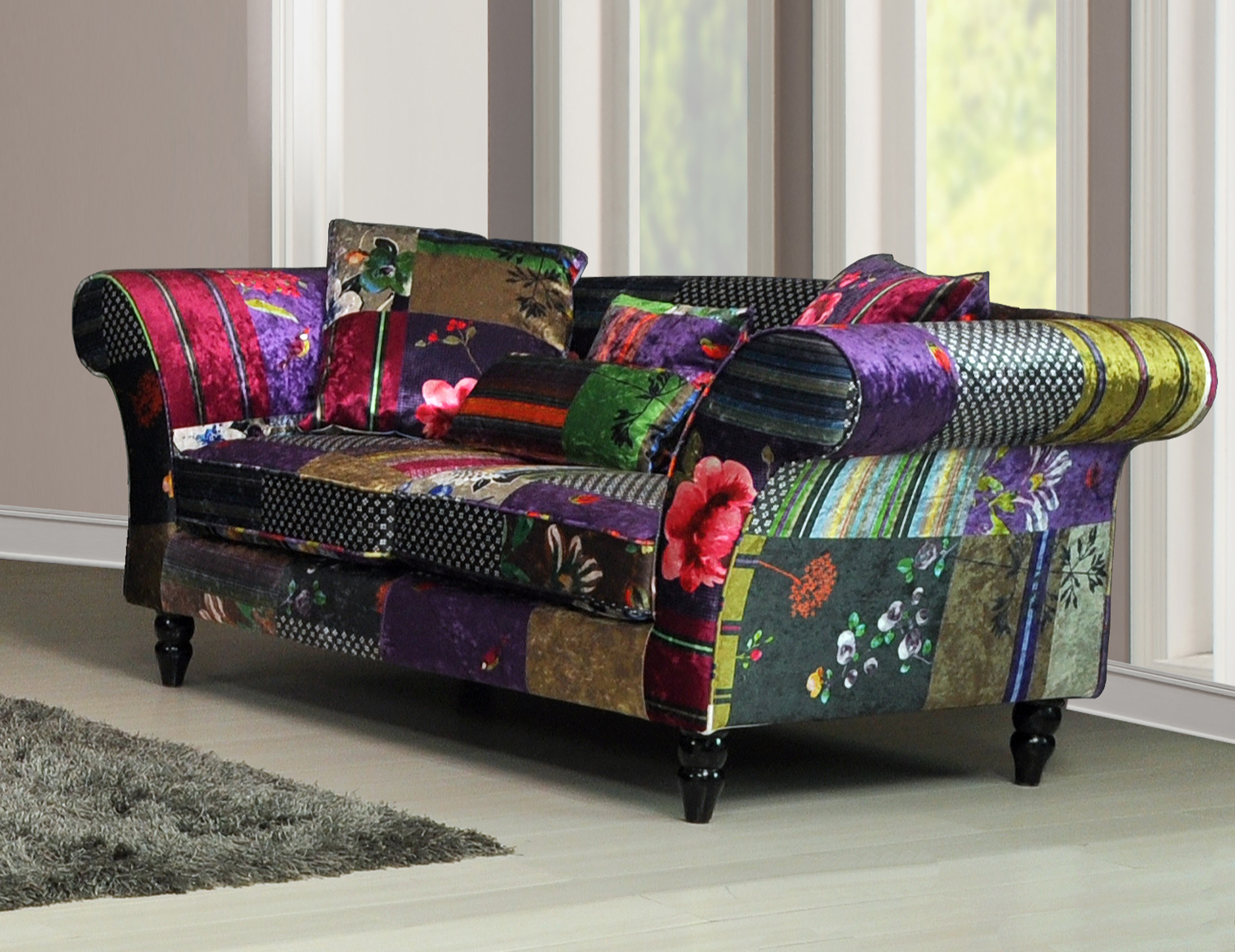 New anna wave 3 and 2 seater luxury fabric patchwork sofas ebay parisarafo Image collections