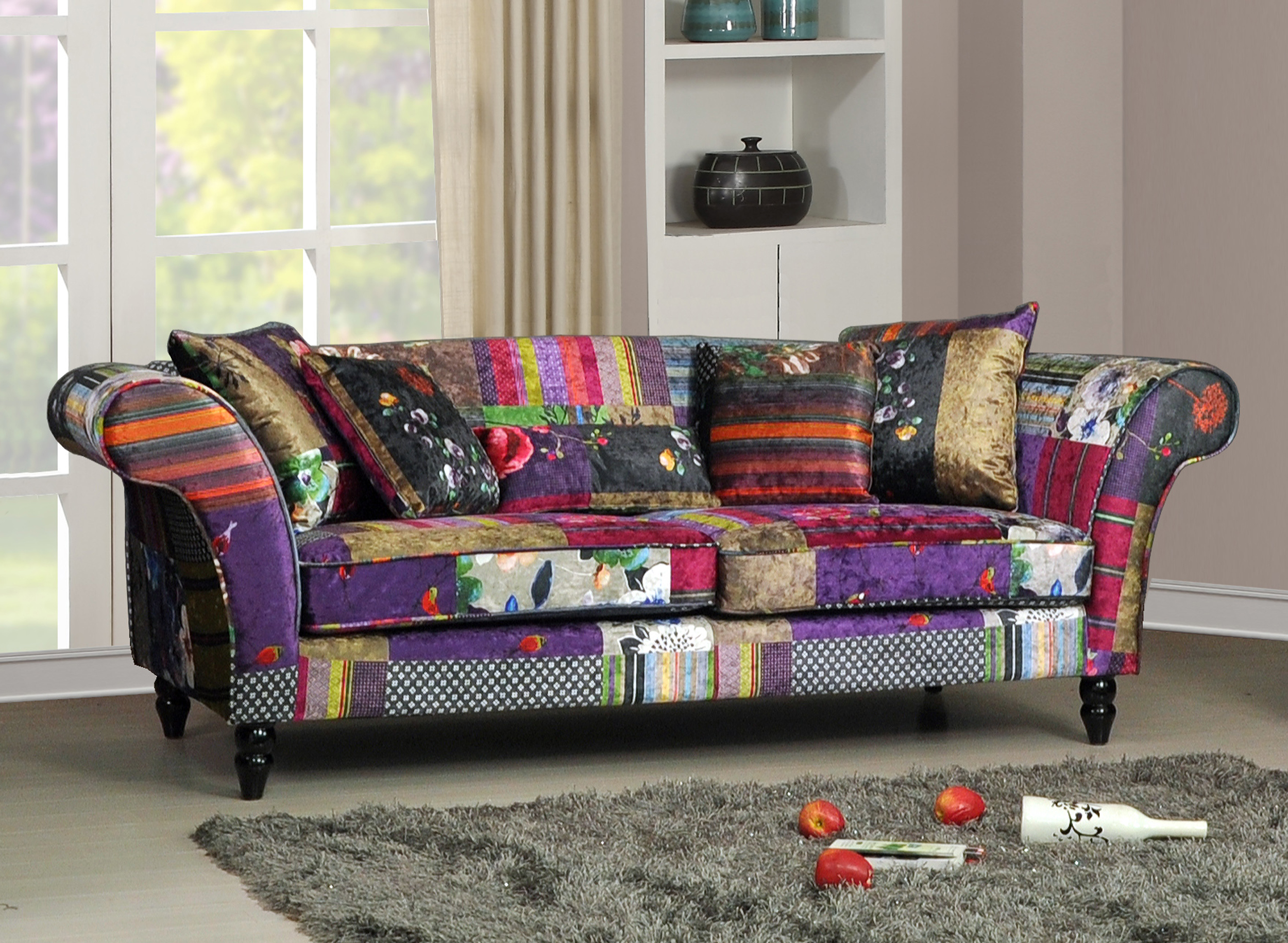 new anna wave 3 seater luxury fabric patchwork sofa ebay. Black Bedroom Furniture Sets. Home Design Ideas