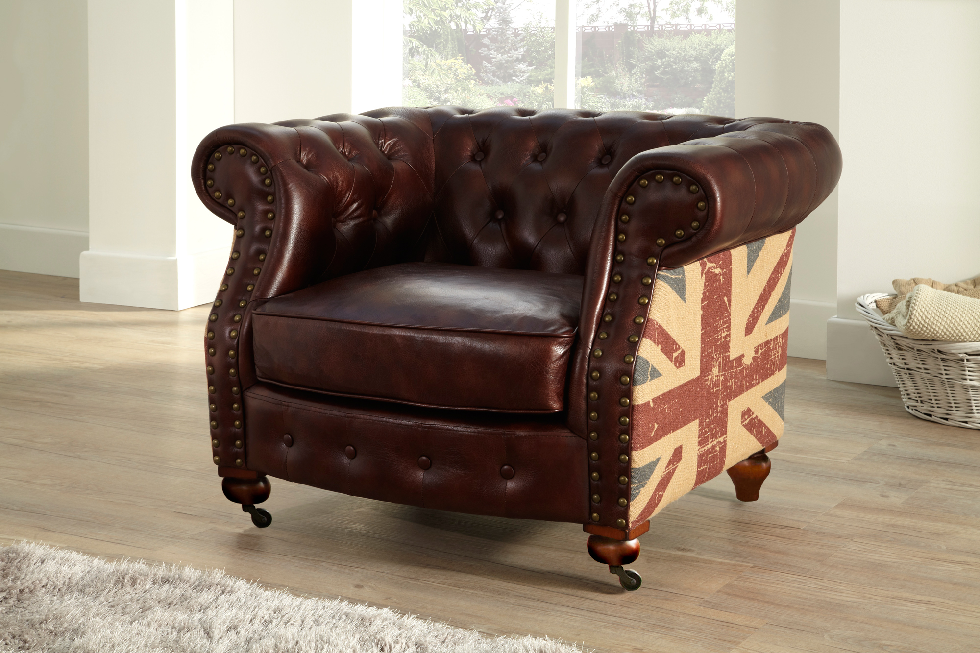 Chesterfield flag 1 seater leather sofa brown ebay for Leather studded couch