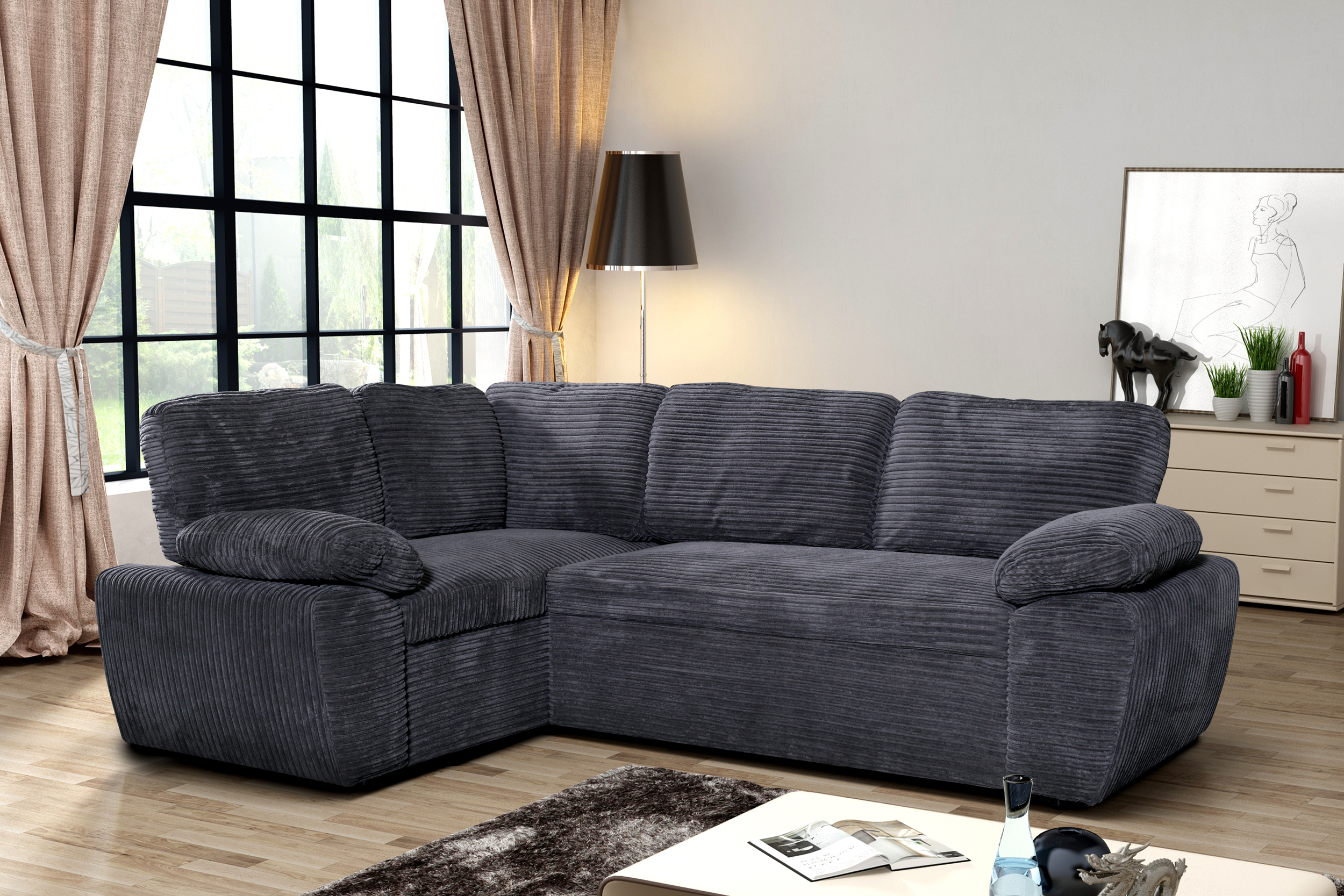 new modern enzo grey jumbo cord fabric corner double storage sofa bed left ebay. Black Bedroom Furniture Sets. Home Design Ideas