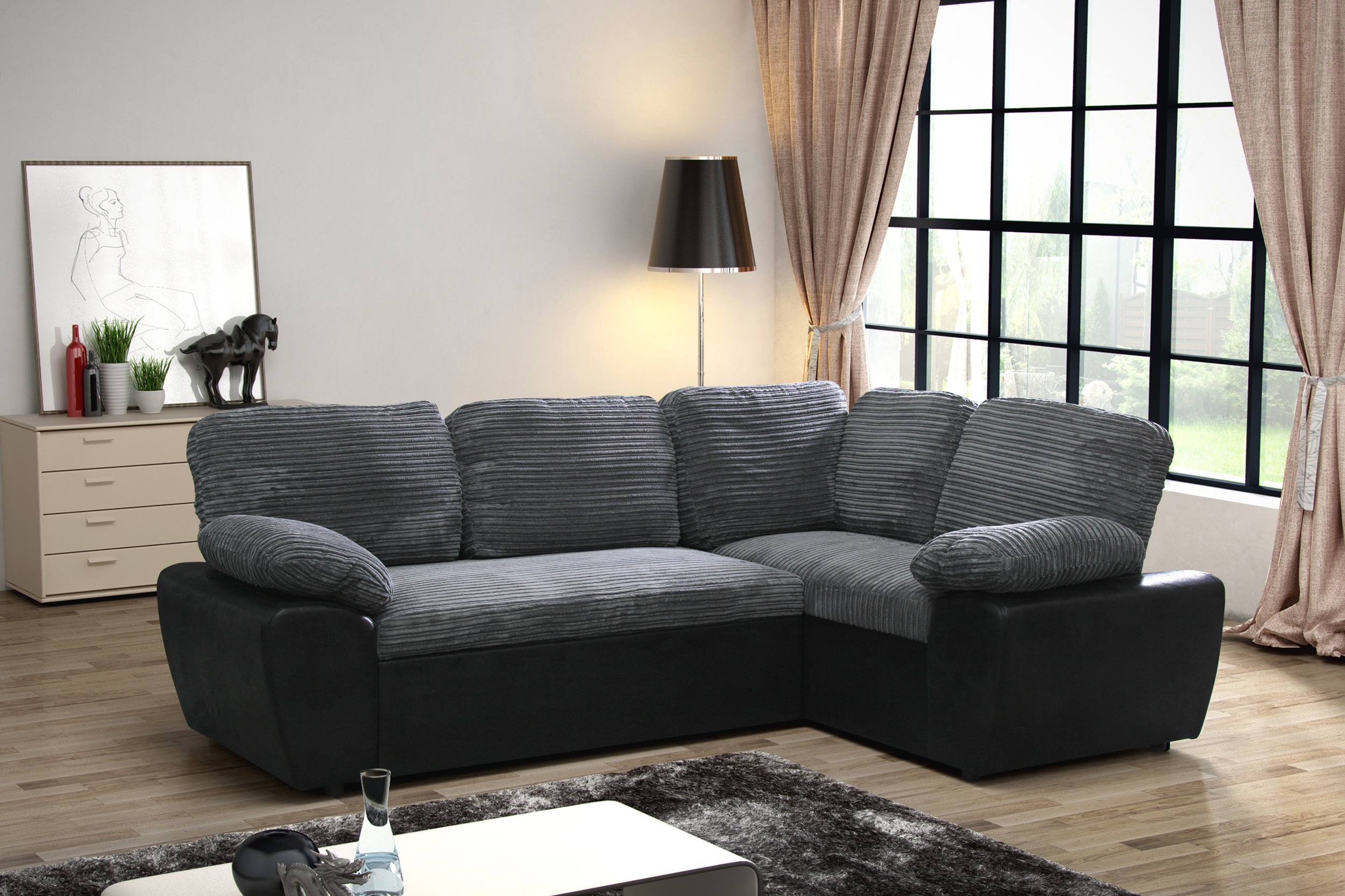 Enzo Cord Faux Leather Corner Storage Double Sofa Bed
