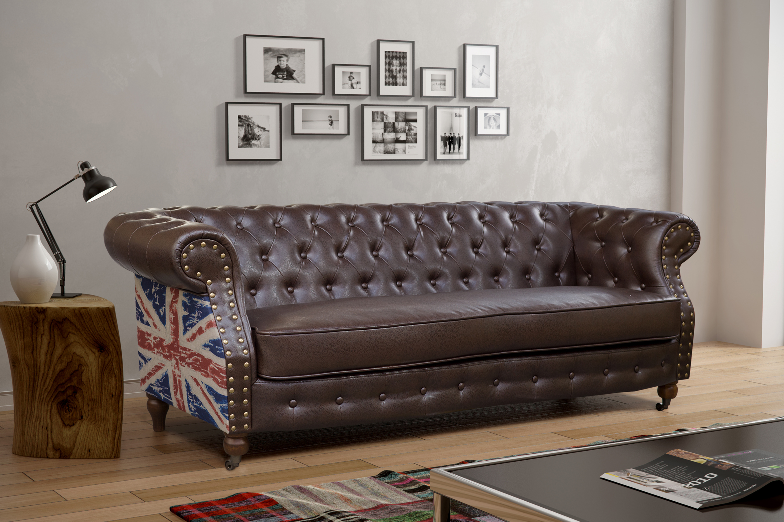 CHESTERFIELD FLAG 3 SEATER LEATHER SOFA BROWN