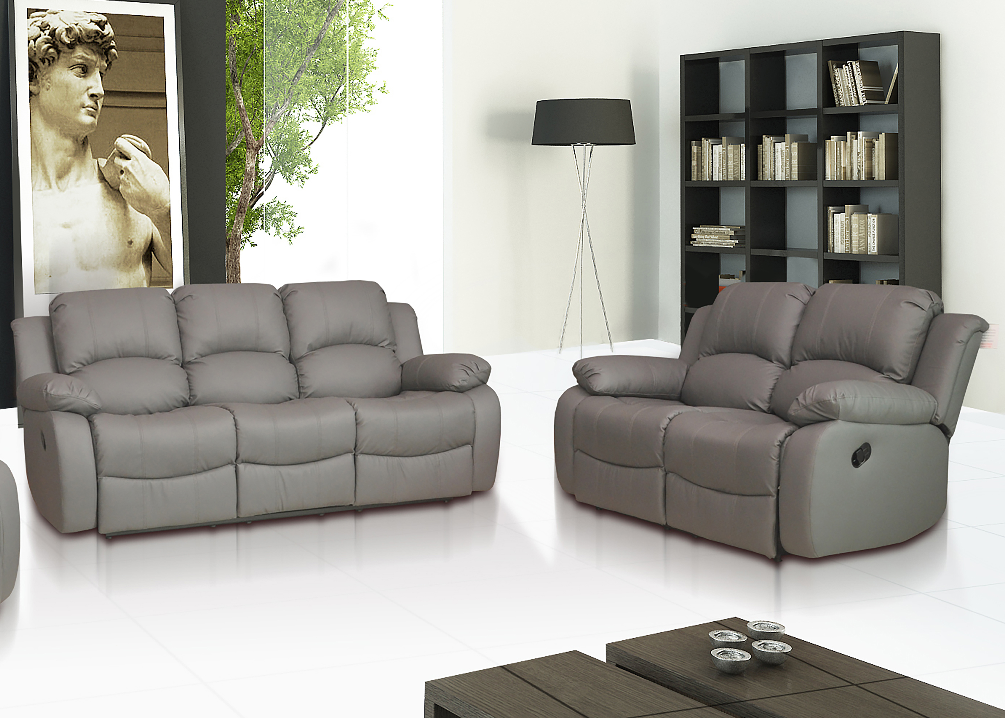 Leather Recliner Sofa 3 2 Milan Leather Recliner Sofa 3