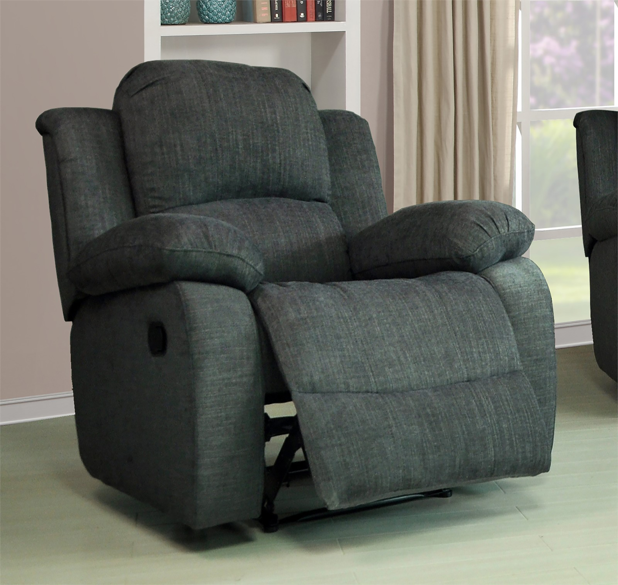 Modern Lazy Boy Valencia 1 Seater Roxy Fabric Recliner Sofa Dark Grey